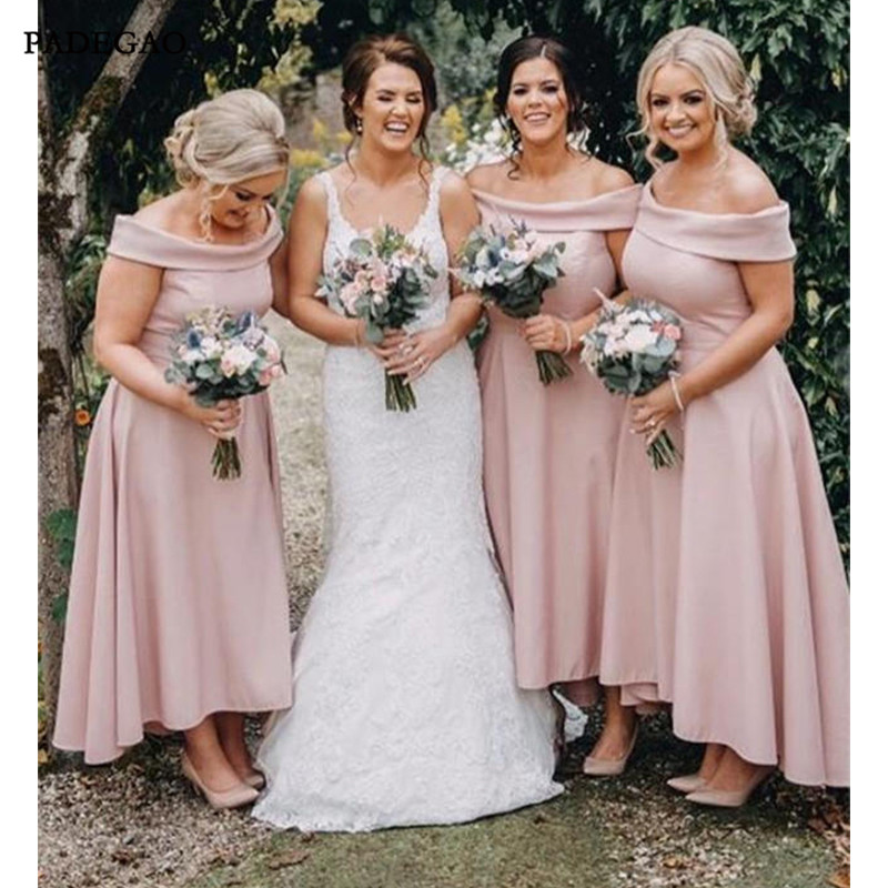 Simple Long   Bridesmaids     Dresses   Pink Off Shoulder Sleeveless A Line High Low Satin   Bridesmaids     Dress   Prom Custom Made