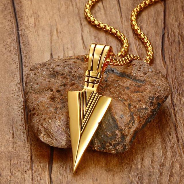 Striking Men's Vintage Spearhead Arrowhead Pendant Necklace for Men Special Surf Bike Chocker Stainless Steel Jewelry
