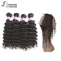 Joedir Malaysian Hair Bundles With Closure 360 Lace Frontal With Bundle 4 Deep Wave Bundles 100% Human Hair Free Shipping