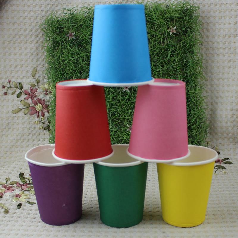 컬러 종이 컵 50pcs / 팩 파티 종이 컵 일회용 웨딩 - 휴일 파티 용품 - 사진 2