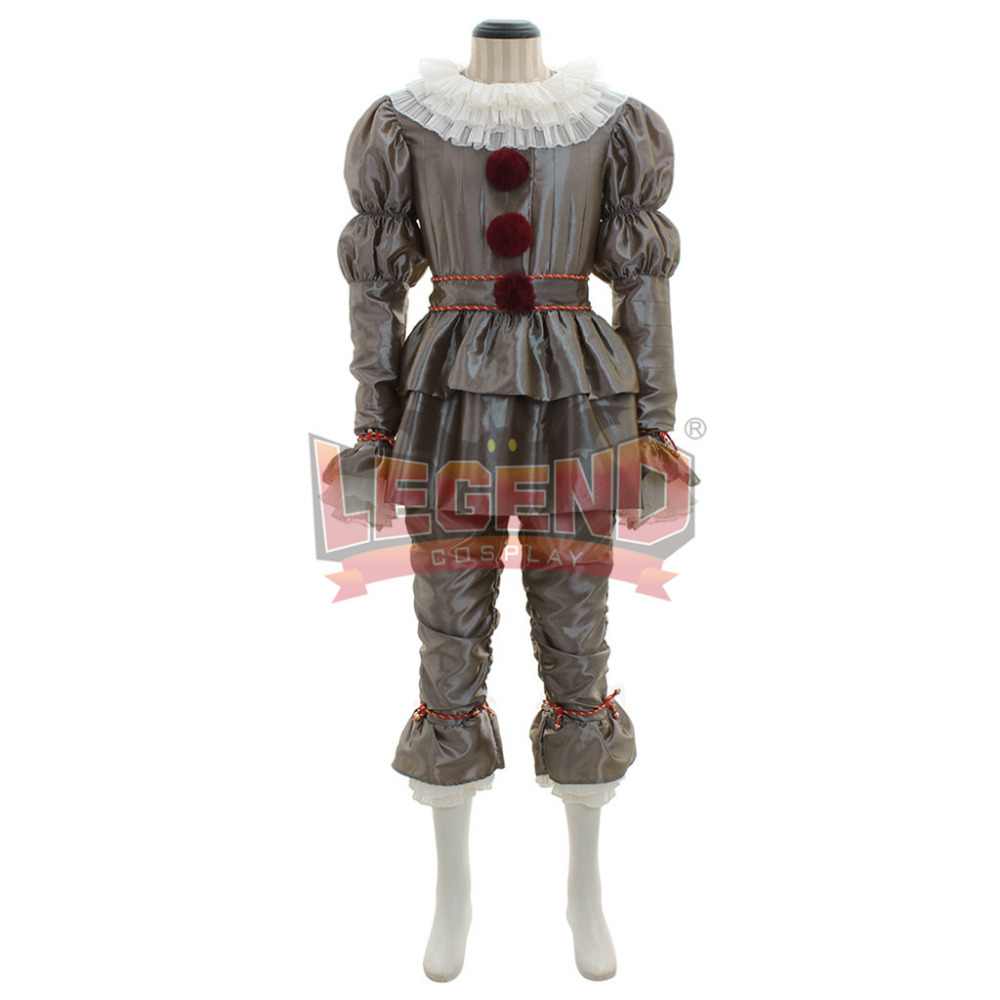 It Pennywise clown Halloween Carnival Cosplay Costume Adult Men Silver outfit