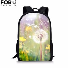 FORUDESIGNS Dandelion School Bag for Girls Boys Flower Print Black Backpack Kid Children Bookbag Student Customize Image Mochila