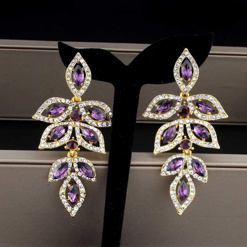 Purple Crystal Earrings For Women