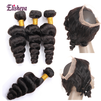 Elisheva Peruvian Hair Bundles Loose Wave Human Hair 360 Lace Frontal With Plucke Bundle Weave Bundles with 360 Closure NonRemy image