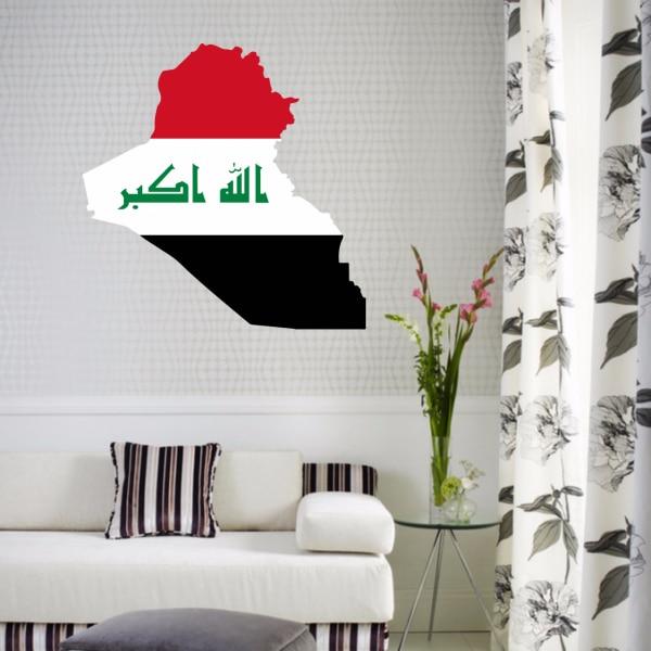 Flag Irākas karte Sienas vinila uzlīmes Pielāgots mājas dekors - Mājas dekors