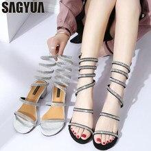 New Women Rhinestone Crystal Sandals Feminina Casual Summer Trendy  Gladiator Snake Type Voluble Heel Leisure Peep Toe Shoes T516 9f6abd632c87