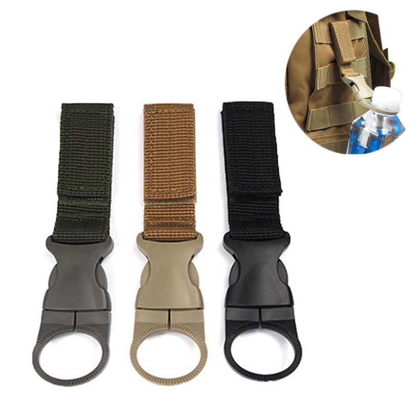 Tactical Detachable Kettle Buckle Carabiner Nylon Military Webbing Buckle Water Bottle Holder Hunting Accessory Outdoor Gear