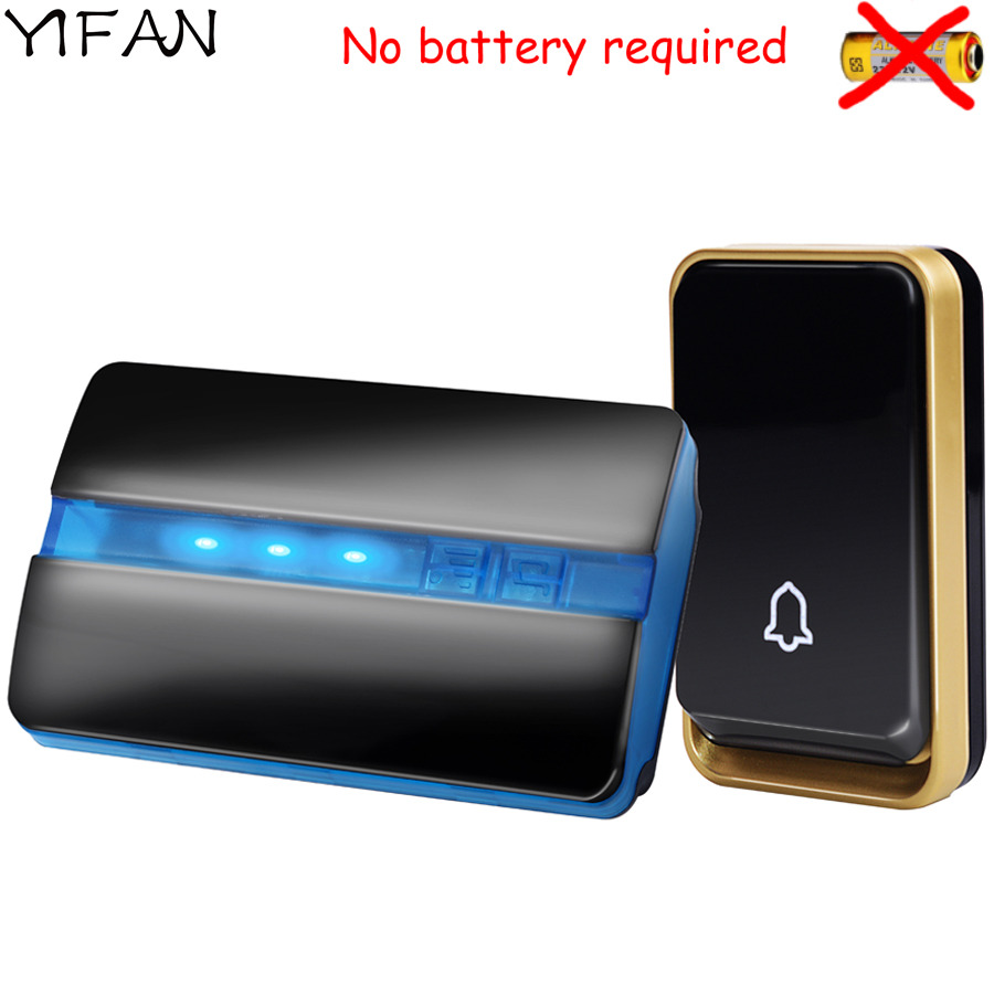 YIFAN auto-alimenté Sans Fil Sonnette SANS batterie D'UE USA Prise MAISON Sonnette De Porte Étanche couverture 150 m gamme 1 bouton 1 récepteur