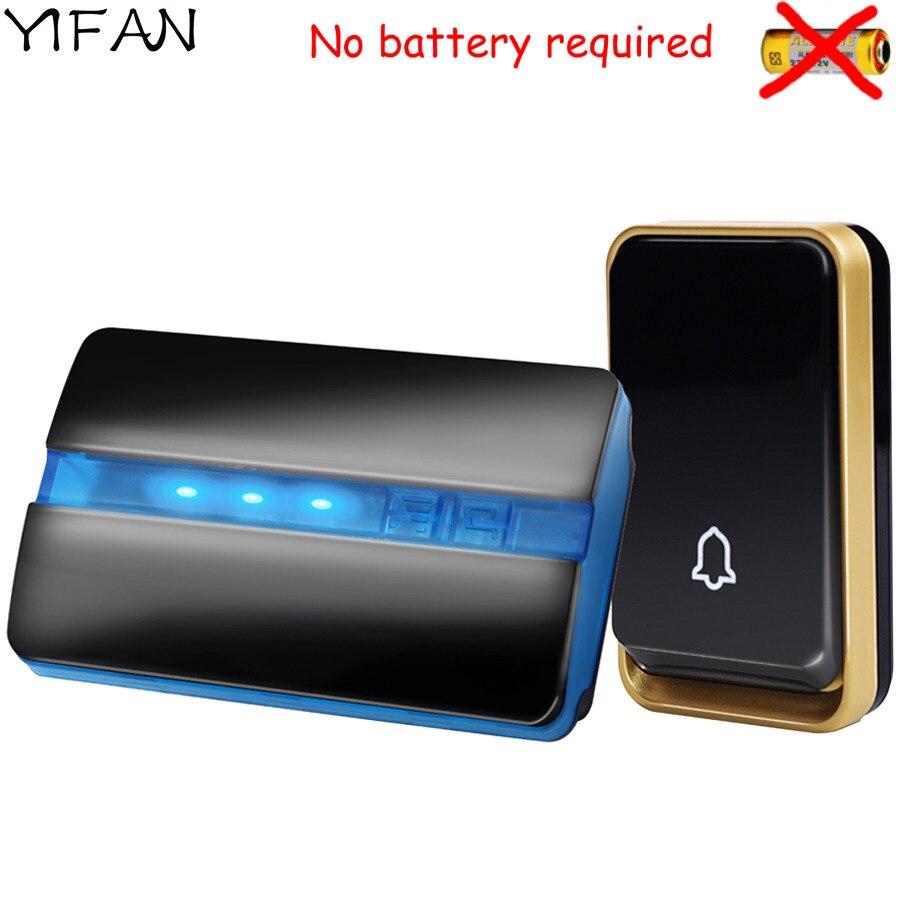 YIFAN auto propulsé Sans Fil Sonnette PAS de batterie US UA UE Plug ACCUEIL Sonnette Étanche couverture 150 m gamme 1 bouton 1 récepteur
