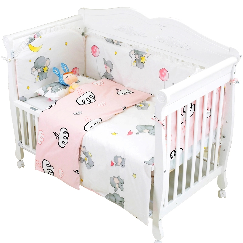 New 7Pcs Cute Elephant Baby Cotton Bedding Set Four Seasons Baby Cot Necessities Safe Bumpers Bed Sheet Pillowcase Duvet Cover lacasa bedding 600 tc egyptian cotton fitted sheet 20 extra deep pocket italian finish solid full elephant grey