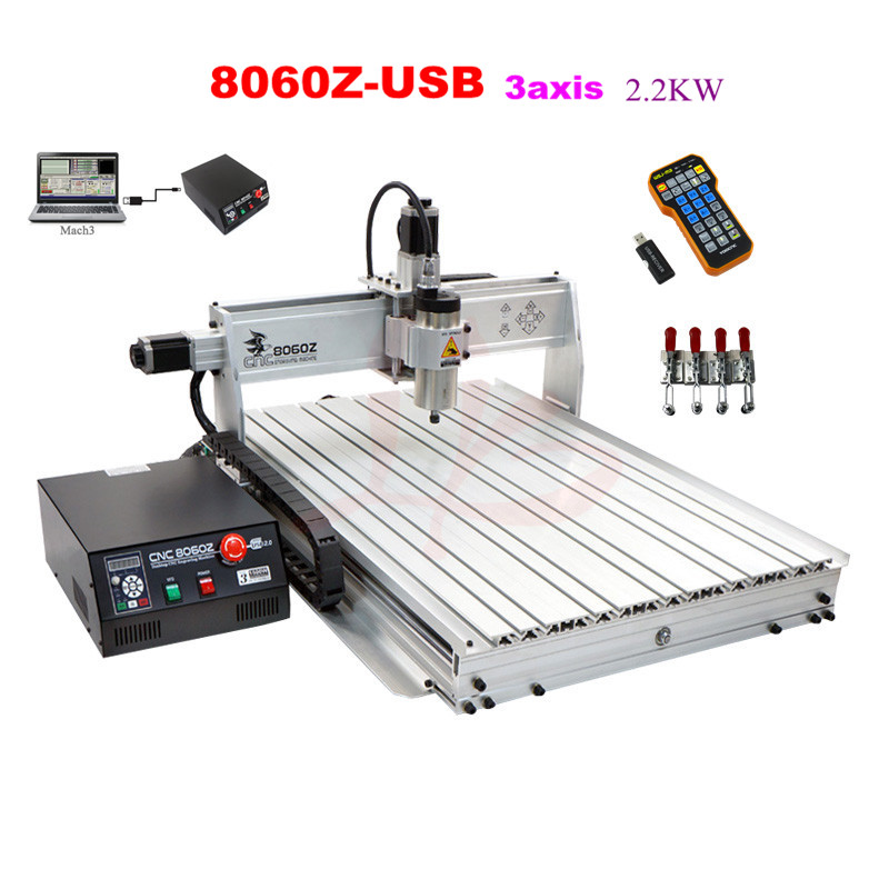 LY CNC 8060Z-USB 3axis 2.2KW mini CNC engraving machine with mach3 remote control free tax to RU acctek mini cnc desktop engraving machine akg6090 square rails mach 3 system usb connection