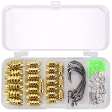 Stone Forest Sharp Texas Rig Kit 69pcs Threaded Copper Lead Strengthened Snap Luminous Beads Fishing Tackle Tool Accessories Box
