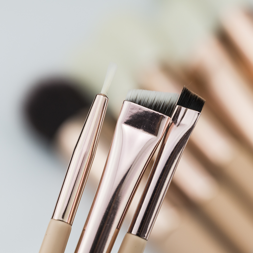 BEILI 15Pcs Pink Rose Gold Makeup brushes Natural goat Pony Hair Foundation blush eye Blending Contour Powder Professional set 5