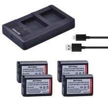 Bamtax 4 шт. NP-FW50 NP FW50 Батарея+ светодиодный двойной Зарядное устройство для sony Альфа a6500 a6400 a6300 a6000 a7S a7 a7sii a5000 a7R a7II