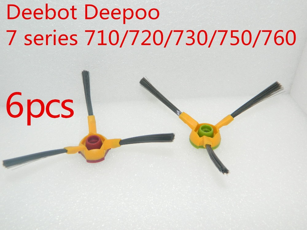 6 pieces 3-arm side brush Replacement For Ecovacs Deebot Deepoo 700 series 710/720/730/750/760 vacuum cleaner parts 3500mah 14 4v cleaner battery for ecovacs deebot d54 deepoo d56 d58 with free side brush