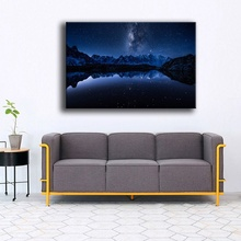 цена Aurora Night View Milky Way Mountains Lake Painting 1 Panel Landscape Picture On Canvas Print And On The Wall Decorative Artwork онлайн в 2017 году