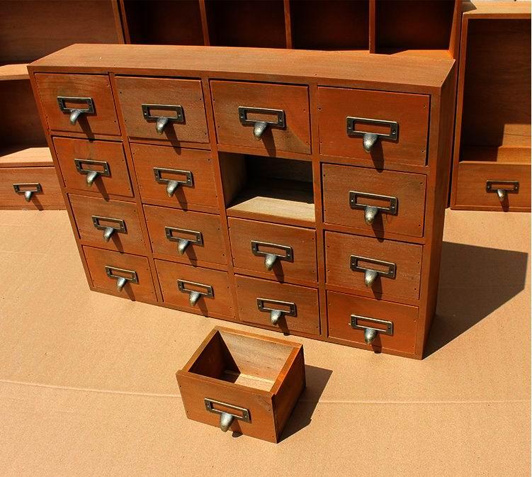 1PC 雑貨 16 格子デスクトップ引き出し収納ボックス木製レトロクリエイティブ収納キャビネットリビングルームの装飾引き出し JL 0900  グループ上の ホーム&ガーデン からの 収納の引き出し の中 2