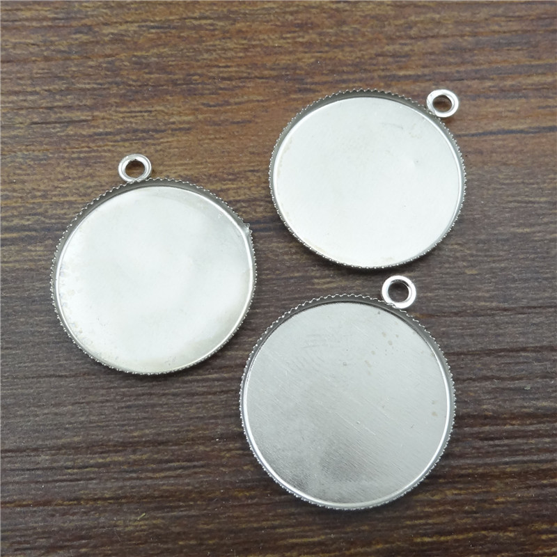 30pcs/20mm Silver plated/bronze Round Necklace Pendant Setting Cabochon Cameo Base Tray Bezel Blank Jewelry Findings&components