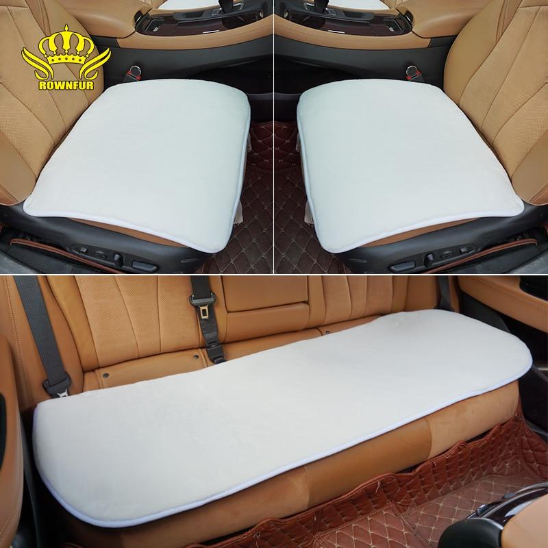 ROWNFUR Universal Fur Seat Covers For Car Seat Home Chair Sofa Warm Artificial Plush Seat Cushion Auto Interior Accessories Mats