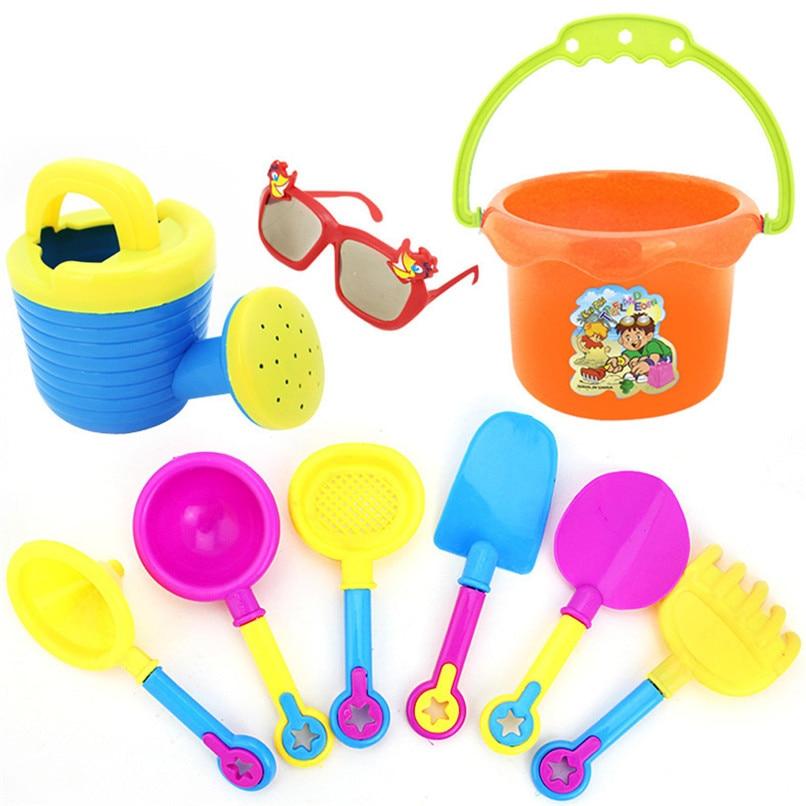 Random Color 9pcs Kids Sand Beach Toys Castle Bucket Spade Shovel Rake Water Tools Set For Kids Toys Good Gift To Kids Jy12