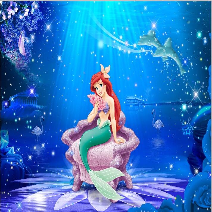 Us 277 16 Di Sconto10x10ft Blu Sotto Il Mare Luce Del Sole Ariel Principessa Little Mermaid Delfino Ragazze Bambini Sfondi Photography Fotografia