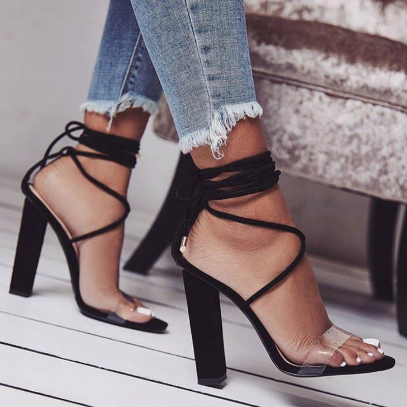 woman shoes chaussure femme cross-tied lace up Zapatos Mujer ladies summer sandals women chunky high heels pumps clear F180008 peacock crystals slingbacks 8cm chunky heels open toe summer shoe sandals chaussure femme de marque chaussure femme talon ouvert