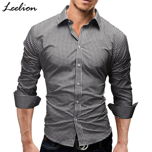 509e41576ac7 IceLion 2019 Spring Plaid Shirt Men Long Sleeves Slim Fit Dress Shirt Men's  Casual Shirt Fashion Brand Camisa Social Masculina