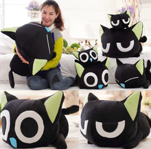 candice guo! newest arrival super cute plush toy Luo black cat stuffed doll kitty papa pillow birthday gift 1pc
