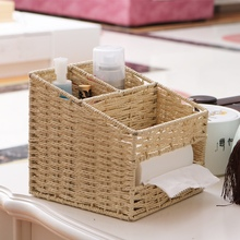 Multifunction straw baskets storage table paper string rattan weave basket tissue stationery storage small boxes in living room vietnam autumn rattan tissue box creative living room pumping paper rattan straw tissue boxes bamboo simple tissue boxes a4530