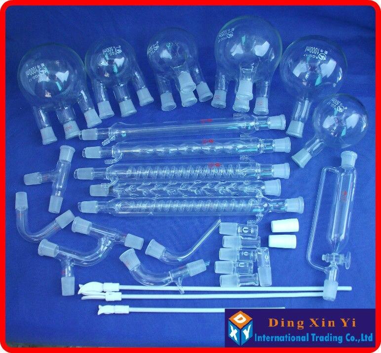 28 pcs Boro 3.3 Glass chemistry Laboratory glassware kit, vacuum distillation unit,flask+condenser pipe+PTFE Stirrer and so on free shipping ptfe stir rod for overhead stirrer