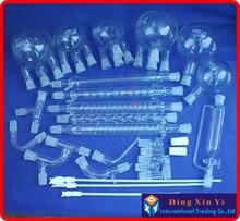 28 peças boro 3.3 vidro química laboratório kit de produtos vidreiros, unidade de destilação a vácuo, balão + condensador tubo ptfe agitador e assim por diante