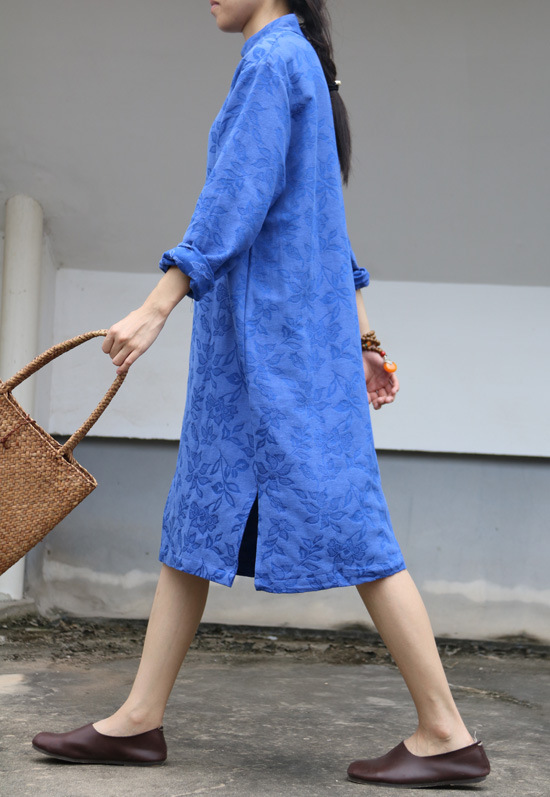 Courtes Original pu Robe Coton Noir Ciel Automne vert Lin bleu De Chinois Jacquard Renda rouge Qualité Vintage Style Floral Design Haute Femmes kXTliZuPOw