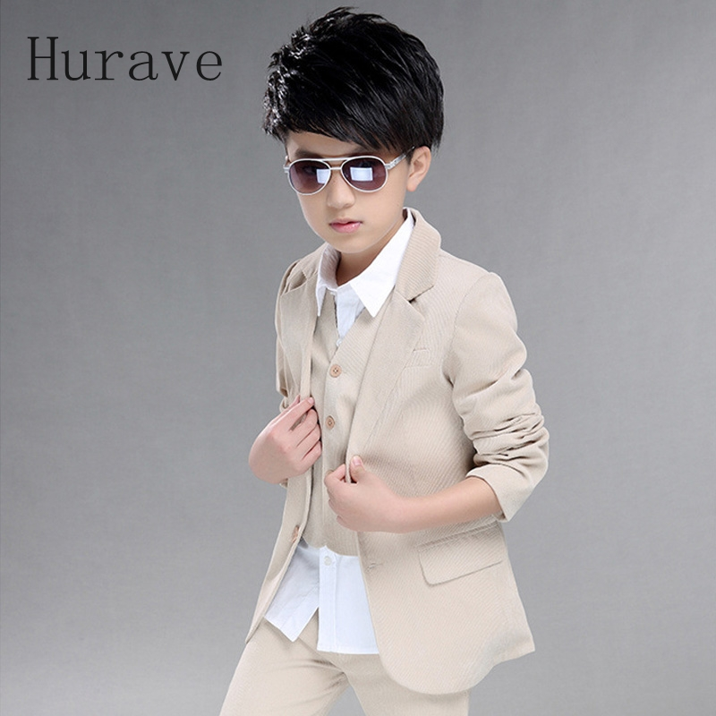 Hurave 2017 Koean style autumn baby boy clothing suit warm kids clothes shirts + vest+pants boy clothing sets hurave autumn baby girl clothing suit warm kids clothes fox top pants long sleeve shirts lovely girls clothing thick 2pcs sets