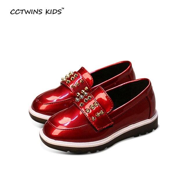 CCTWINS KIDS spring autumn baby girl fashion black patent leather slip-on for children black stud shoe toddler brand flats boy
