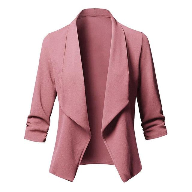 Дамы Blazer 3/4 рукав Blaser Для женщин пиджак женский женственный Блейзер Femme розовый сине-белые черный Блейзер Осень Плюс Размеры 5XL