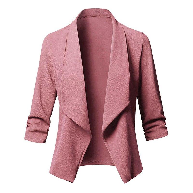 Ladies Blazer 3/4 Sleeve Blaser Women Suit jacket Female Feminine Blazer Femme Pink Blue White Black Blazer Autumn Plus Size 5XL