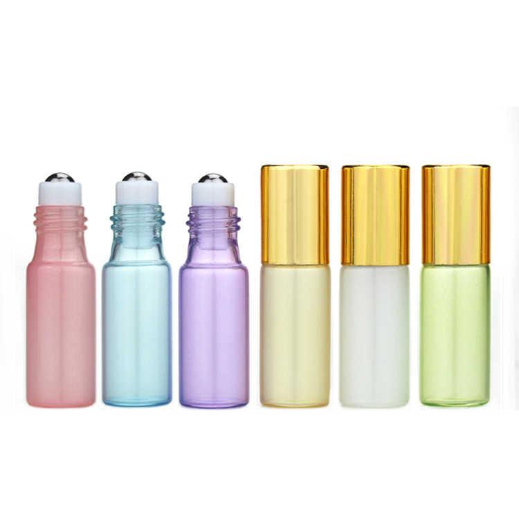 5 มิลลิลิตรลูกกลิ้งน้ำมันหอมระเหยขวดน้ำหอมมินิเติมคอนเทนเนอร์หม้ออลูมิเนียม Cap เครื่องสำอางค์ Make up ขวด