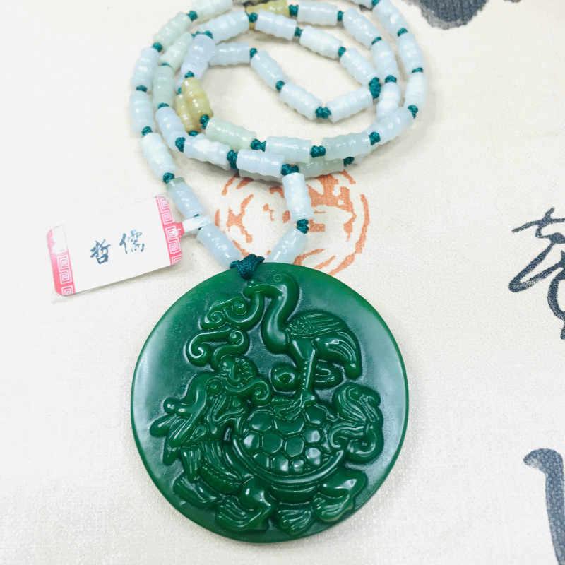 Zheru biżuteria czysty naturalny Jasper rzeźbione zielony zielony góra wody wisiorek trzy kolor jadeit koralik naszyjnik wysłać klasy A Certi