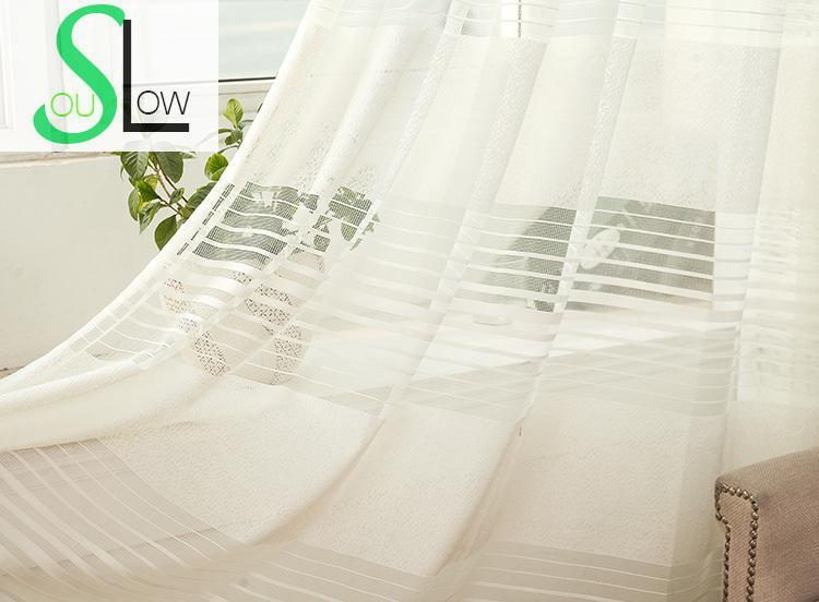 Tende Soggiorno Bianche : Lento anima beige strisce bianche luce tenda tende a strisce tulle