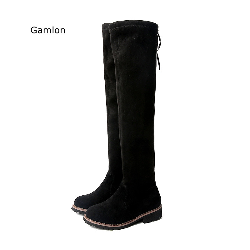 چکمه های دخترانه Gamlon Over-the-Knee 2018 پاییز جدید زمستان کفش کودکان و نوجوانان شاهزاده خانم کفش چکمه بلند Mama Fashion Boot کودکان