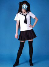 Lindo Manga Corta Chica Uniforme Escolar Cosplay Traje de Halloween