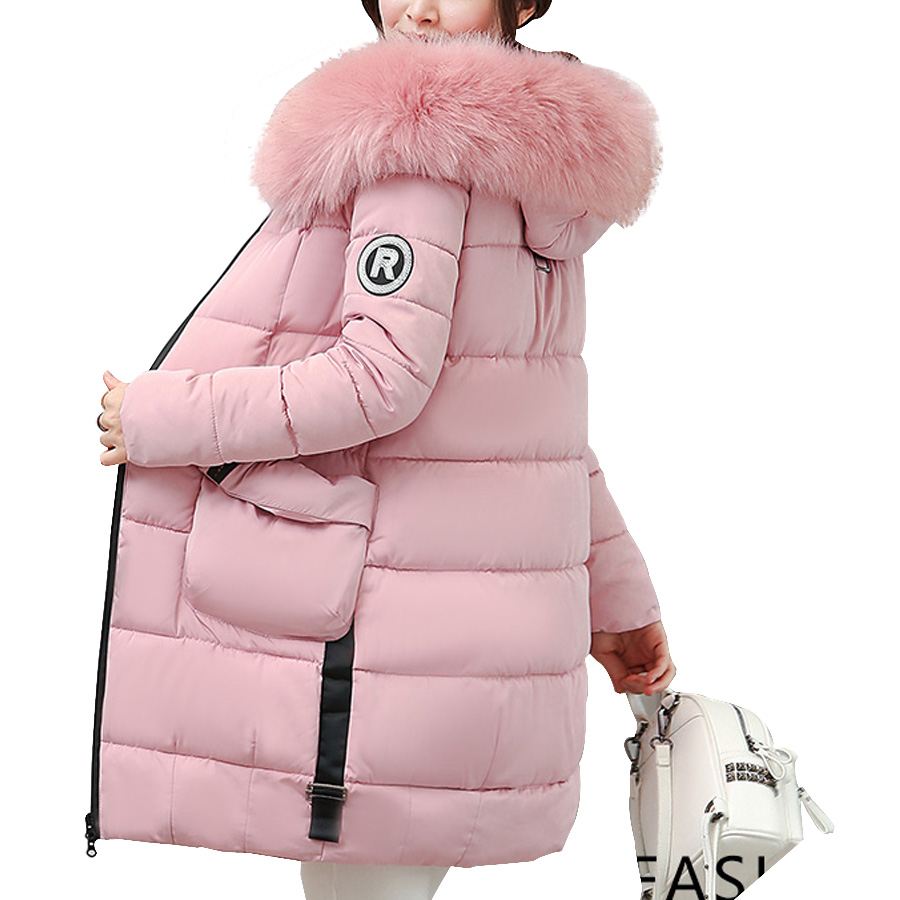 Winter coat women fashion 2017 Cotton Padded Fur Collar Hooded Jacket women Wadded Parka coat  Female Plus size women clothing women s clothing real fur collar winter jacket women 2015 new fashion thick winter coat female cotton padded jacket wadded coat