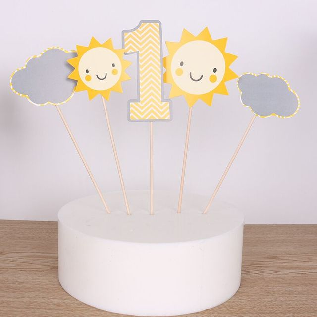 5 Pcs Set First Birthday Cupcake Toppers 1st Party Decorations Boy Girl 1 Year Anniversary