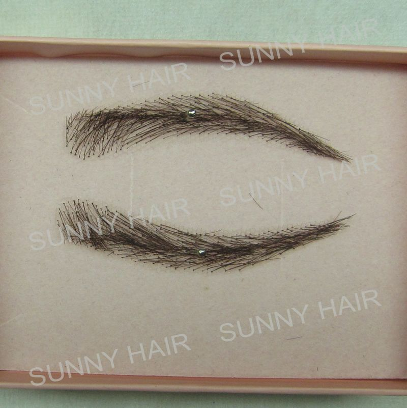 hand made human hair false eyebrow 013 black color natural