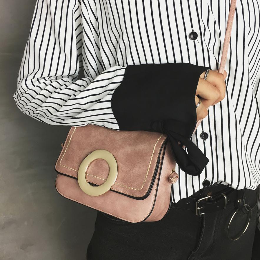 Женская Мода Кожа PU кольцо сумка Ms. однотонная одежда застежкой небольшой площади сумка # F