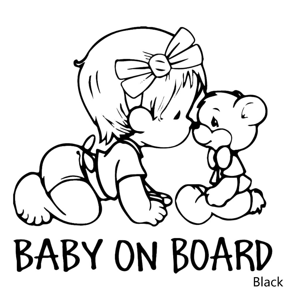 14*15CM BABY ON BOARD Lovely Bear Car Styling Decals Cartoon Vinyl Car Sticker Black/White hot sale 1pc longhorn hilux 900mm graphic vinyl sticker for toyota hilux decals badges detailing sticker car styling accessories