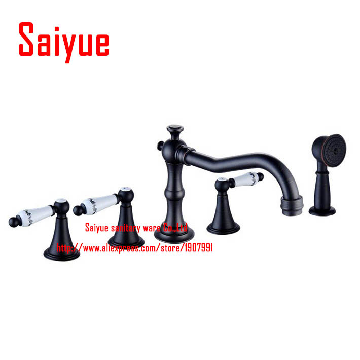 Vintage Oil Rubbed Bronze Finish Widespread Bathtub 5 Pcs Set Faucet with Pull Out Handheld Shower Head
