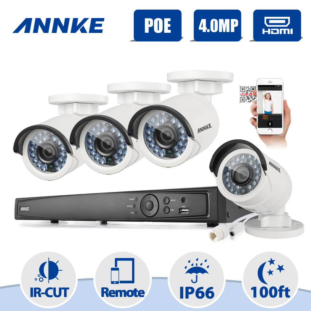 ANNKE 8CH HD 1520P 4MP NVR IP Network PoE 2688*1520P Outdoor CCTV Camera Security System Surveillance Kit