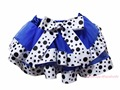 Blue Dairy Cattle Milk Cow Dots Trimmed Tutu Dance Baby Girls Skirt NB-8Y