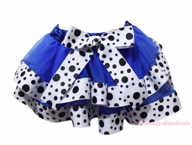Blue Dairy Cattle Milk Cow Dots Trimmed Tutu Dance Baby Girls Skirt NB-8Y
